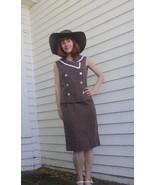 Vintage 60s Polka Dot Brown Top Skirt Set Sleev... - $23.00