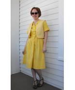 Yellow Polka Dot Dress Retro Summer Vintage 196... - $48.00