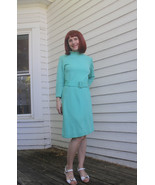 Aqua Wool Dress Mod Vintage 60s Carol Brent Lon... - $39.99