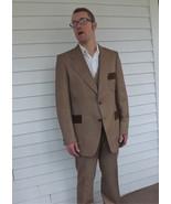 70s Mens Suit Vintage 1970s Tan Striped 3 piece... - $170.00