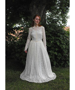 40s Wedding Dress Lace Gown Ivory Vintage 1940s... - $159.99