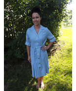 1960s Blue Day Dress 60s Casual Vintage Tumblew... - $39.99