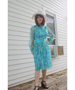 60s Mod Print Dress Blue 1960s Polka Dot Long S... - $49.99