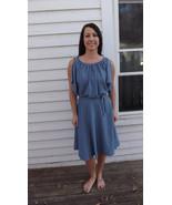 Blue Polka Dot Summer Dress Casual XS Vintage 70s - $39.99