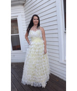 50s Yellow Prom Dress Formal Strapless 1950s Pa... - $275.00