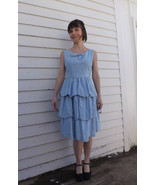Vintage Blue Party Dress Prom Formal 60s Sleeve... - $69.99