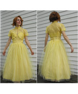 1950s Prom Dress Yellow Tulle Strapless Party F... - $200.00
