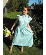 Vintage 50s Dress Button Back Aqua Blue Rockabi... - $59.99