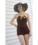 Jantzen Swimsuit 30s 40s Bathing Suit Brown Kni... - $240.00