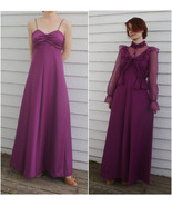 70s Dress with Sheer Lace Blouse Dark Burgundy ... - $39.99