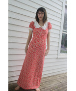 Red Maxi Dress Chess Alice Vintage 70s Dolly Wh... - $39.99
