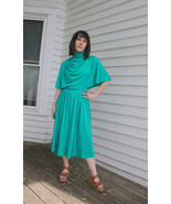 Green Dress 70s Disco Party Vintage 1970s XS Ay... - $39.99