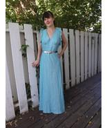 70s Blue Maxi Dress Open Back Space Age Superhe... - $39.99