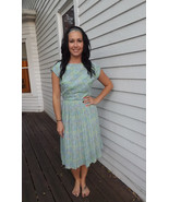 Vintage 50s Dress Print Pleated Blue Green Shee... - $39.99