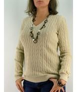 sz M ANN TAYLOR LOFT Sweater Gold Sparkle Cable... - $17.27