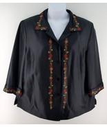 2X SILKLAND Shirt Jacket Black Embroidered Flor... - $27.05