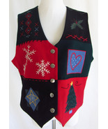 TALBOTS L Embroidered Holiday Christmas Tree Sn... - $16.83