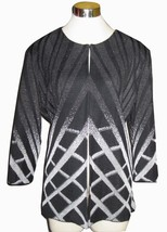 L MING WANG Black Silver Ombre Hatch Print Jack... - $93.00