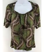 sz M ANN TAYLOR LOFT Knit Top Brown Green Swirl... - $9.21