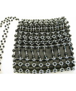 Black And Pewter Beaded Purse With Beaded Shoul... - $12.00