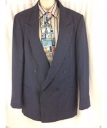 Hardy Amies Sport Coat 42L Dark Blue Navy Wool ... - $34.64