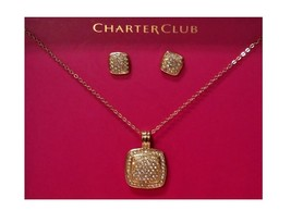 Charter Club Necklae, Gold-Tone Crystal Drop Pe... - $13.09