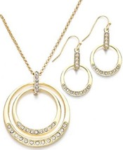 Charter Club Necklace, New Gold-Tone Pave Glass... - $13.99