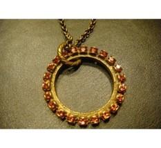 Liz Palacios Circle Pendant Necklace Dark Pink ... - $40.11