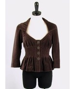 ELEVENSES Anthropologie Size 6 Brown Velvet Edw... - $31.99