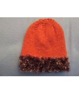 Ladies Handknit Ski Hat Pumpkin Acrylic with Fu... - $3.50