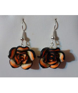 Black and Peach Rose Drop Earrings - $12.99