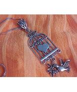 Adorable Tibetan Silver Bird Cage Necklace - $12.99
