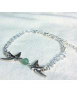 Tibetan Silver Double Chain Jade Dove Bracelet ... - $21.99