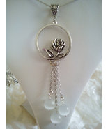 Vintage Rose Circle Pendant With White Jade Bea... - $24.99