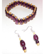 Dark Purple and Gold Stretch Glass Bead Bracele... - $12.99