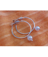 1 Inch  Silver Plated Glass Pearl  Hoop Earring... - $7.99