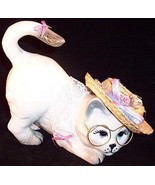 Ceramic Kitty Cat Glasses & Hat Figurine with F... - $8.99