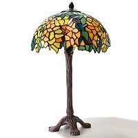 "20.5"" Leaves Stained Glass Table Lamp ~ NEW"