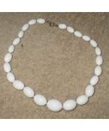 Vintage Costume Jewelry White Bead Necklace 15