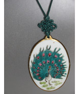 VINTAGE NECKLACE 1970'S PORCELAIN WITH PEACOCK-... - $26.00