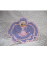 DOLL VINTAGE HAND MADE EMBROIDERED DOLL-PURPLE-... - $8.00
