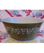 GREEN PYREX BOWL WITH FLOWERS - $26.00
