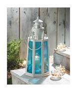 Lantern Lighthouse With Blue Glass Panels - $17.00