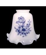 Light Shade White Glass Blue Floral Bell Ceilin... - $10.00
