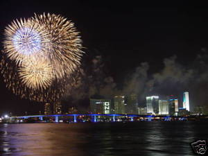 Downtown Miami 4th of July Fireworks 8 X 10 Photo