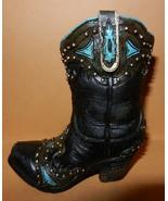 Western Cowboy Boot Resin Collectible Black Boo... - $9.25