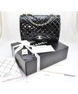 CHANEL Black PATENT LEATHER Classic XL Jumbo Ma... - $4,659.00