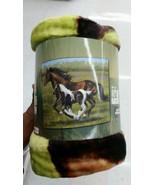 Horses in the Field Royal Plush Raschel Throw b... - $24.75
