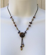 Tiger Eye Medallion Avon Necklace Burnished Bra... - $11.99