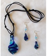 Dichroic Foil Glass Pendant .925 Earrings Set 2... - $29.99